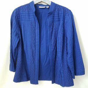 Chicos Jacket Top Blue 3/4 Sleeve Open Front Sz 1